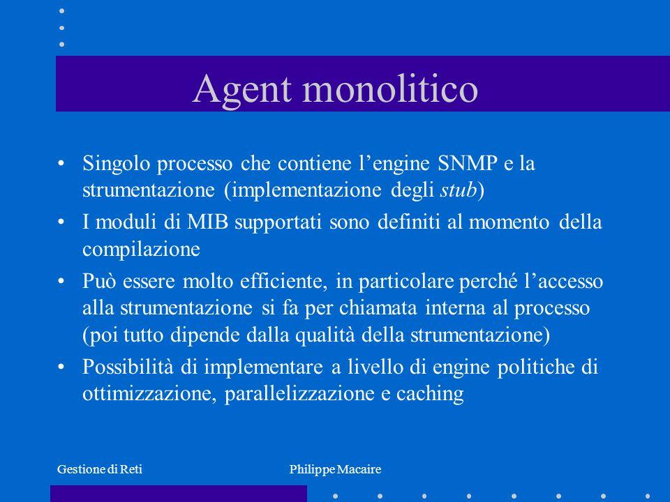 Gestione di RetiPhilippe Macaire Agent monolitico Singolo processo che contiene lengine SNMP e la strumentazione (implementazione degli stub) I moduli