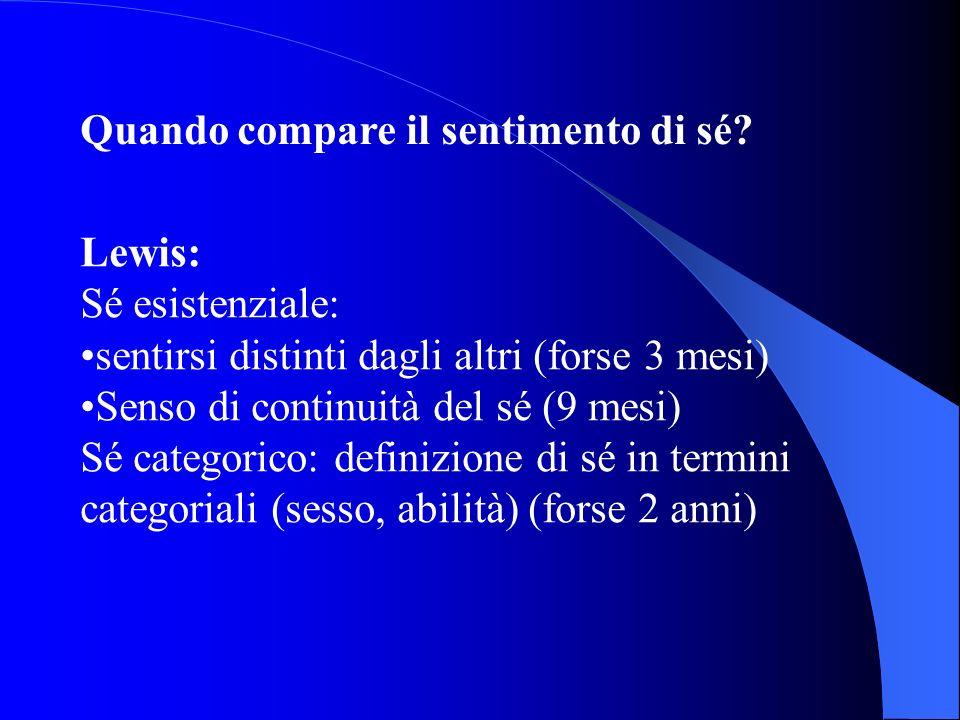 Quando compare il sentimento di sé? Lewis: Sé esistenziale: sentirsi distinti dagli altri (forse 3 mesi) Senso di continuità del sé (9 mesi) Sé catego
