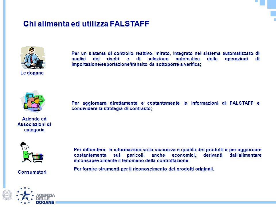 Chi alimenta ed utilizza FALSTAFF Le dogane Aziende ed Associazioni di categoria Consumatori Per un sistema di controllo reattivo, mirato, integrato n
