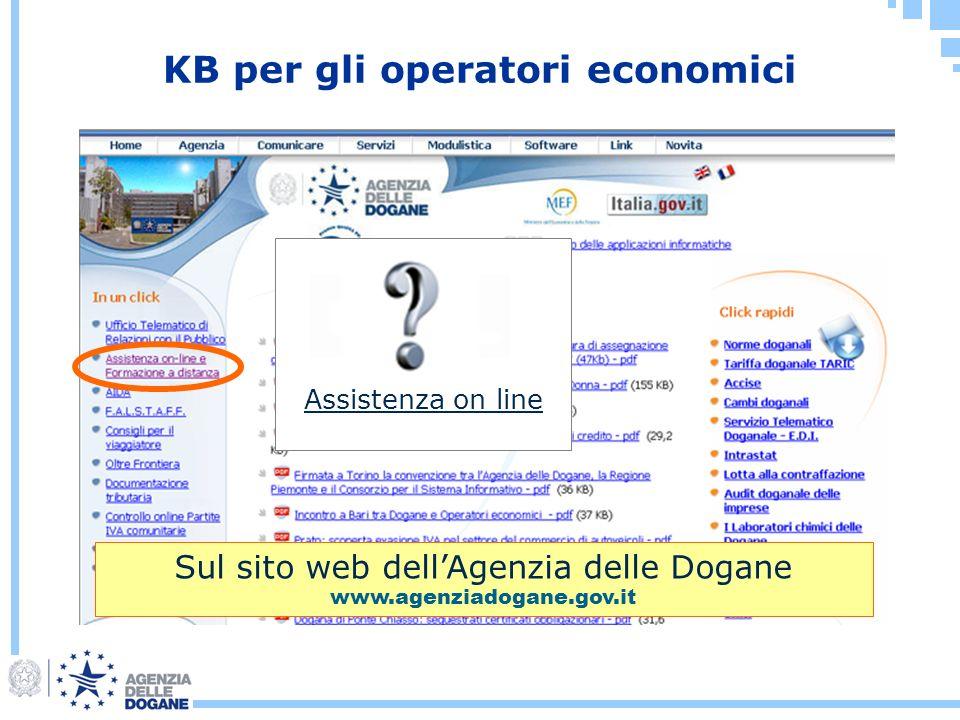 KB per gli operatori economici Sul sito web dellAgenzia delle Dogane www.agenziadogane.gov.it Assistenza on line