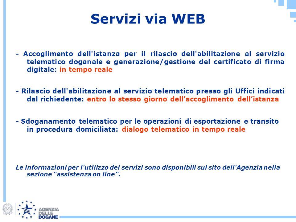 Servizi via WEB Le informazioni per l'utilizzo dei servizi sono disponibili sul sito dell'Agenzia nella sezione assistenza on line. - Accoglimento del