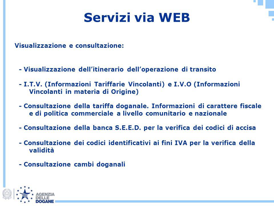 Servizi via WEB Visualizzazione e consultazione: - Visualizzazione dellitinerario delloperazione di transito - I.T.V. (Informazioni Tariffarie Vincola