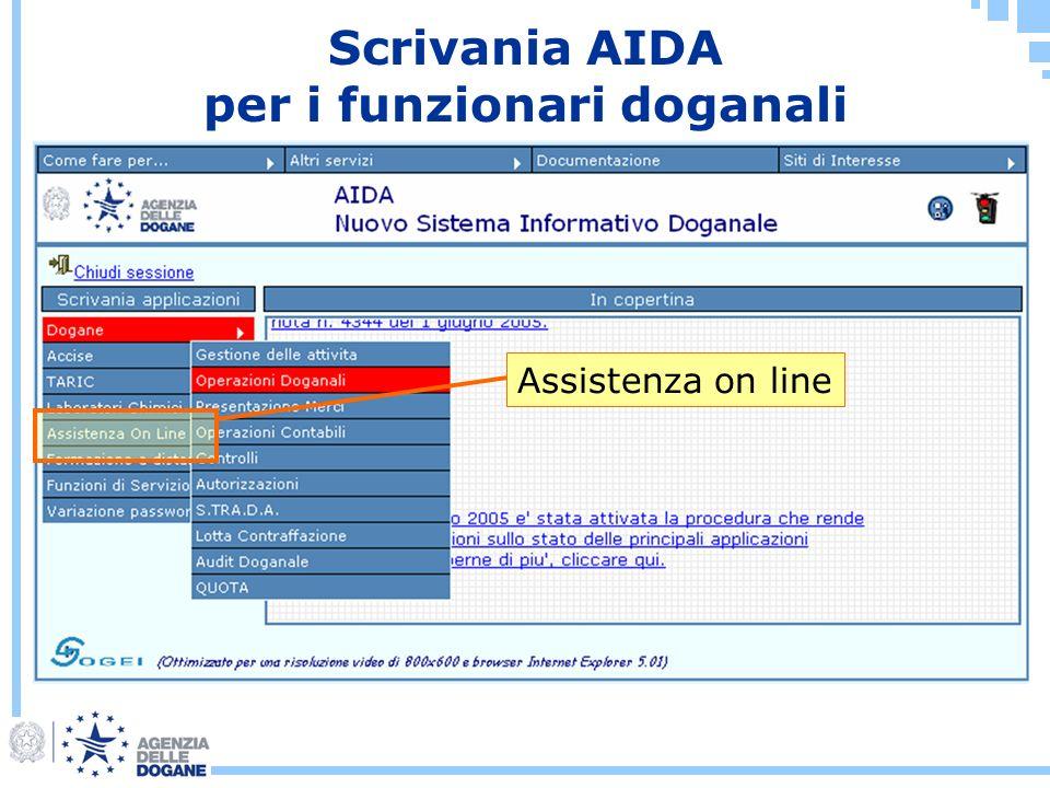 Scrivania AIDA per i funzionari doganali Assistenza on line