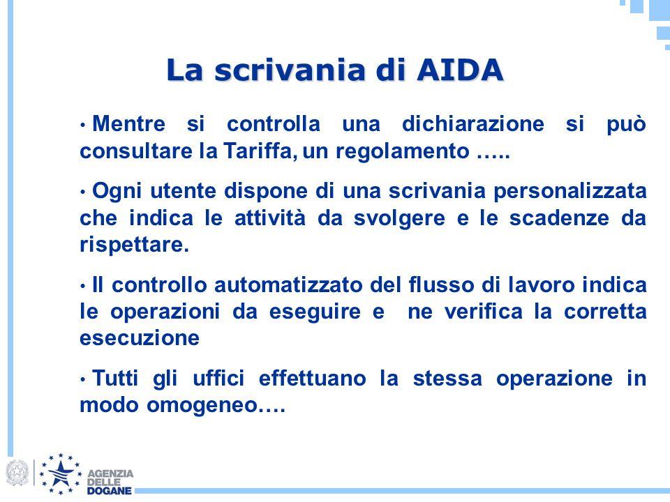 La scrivania di AIDA Mentre si controlla una dichiarazione si può consultare la Tariffa, un regolamento ….. Ogni utente dispone di una scrivania perso