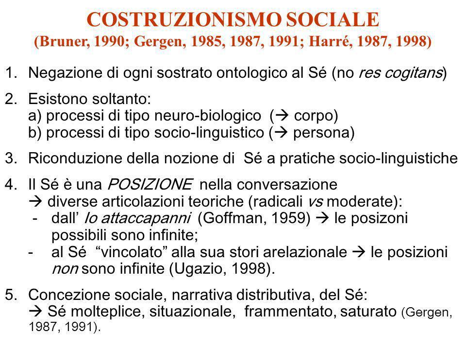 COSTRUZIONISMO SOCIALE (Bruner, 1990; Gergen, 1985, 1987, 1991; Harré, 1987, 1998) 1.Negazione di ogni sostrato ontologico al Sé (no res cogitans) 2.E