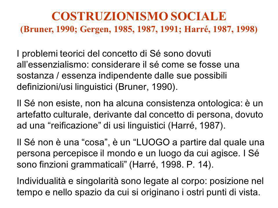 COSTRUZIONISMO SOCIALE (Bruner, 1990; Gergen, 1985, 1987, 1991; Harré, 1987, 1998) I problemi teorici del concetto di Sé sono dovuti allessenzialismo: