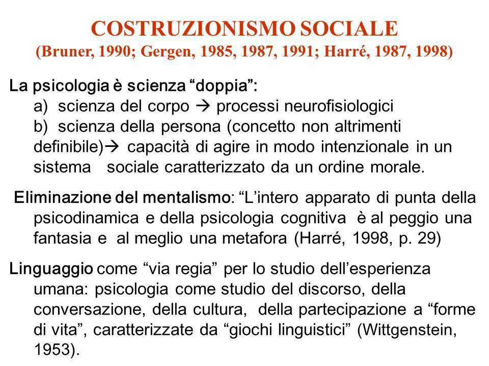 COSTRUZIONISMO SOCIALE (Bruner, 1990; Gergen, 1985, 1987, 1991; Harré, 1987, 1998) La psicologia è scienza doppia: a) scienza del corpo processi neuro