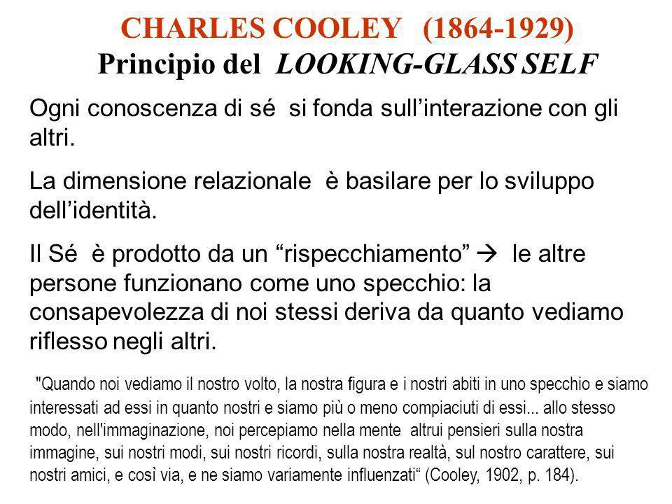 CHARLES COOLEY (1864-1929) Principio del LOOKING-GLASS SELF Ogni conoscenza di sé si fonda sullinterazione con gli altri. La dimensione relazionale è