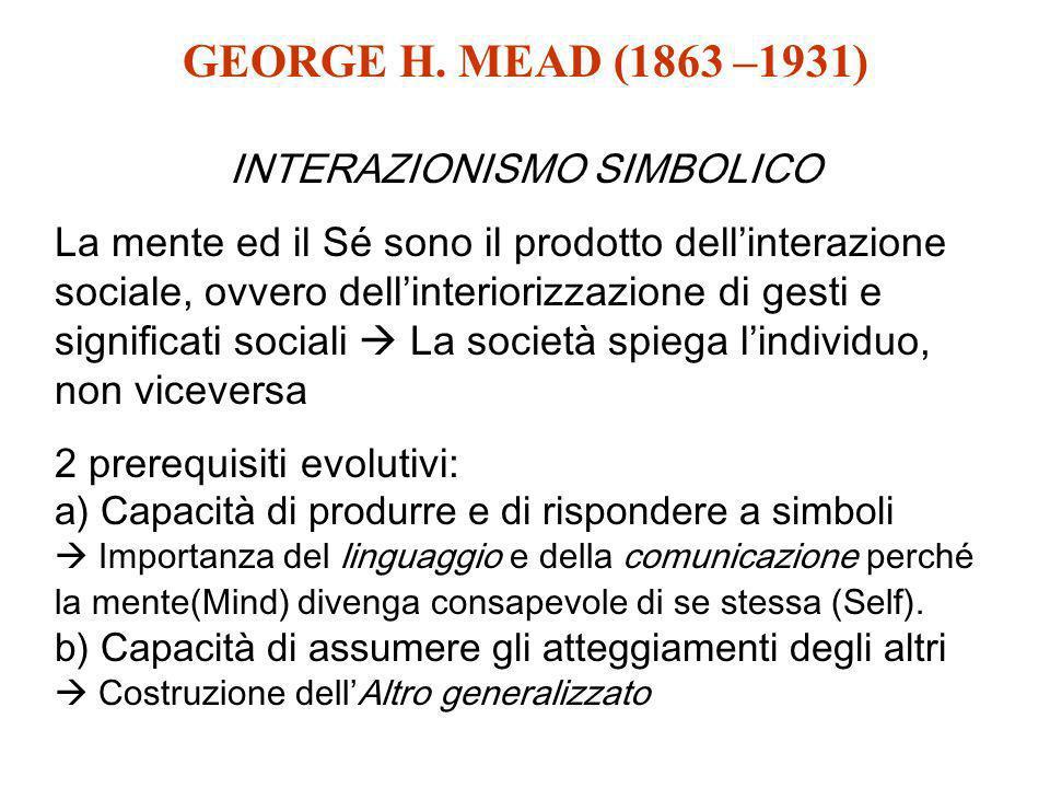 GEORGE H. MEAD (1863 –1931) INTERAZIONISMO SIMBOLICO La mente ed il Sé sono il prodotto dellinterazione sociale, ovvero dellinteriorizzazione di gesti