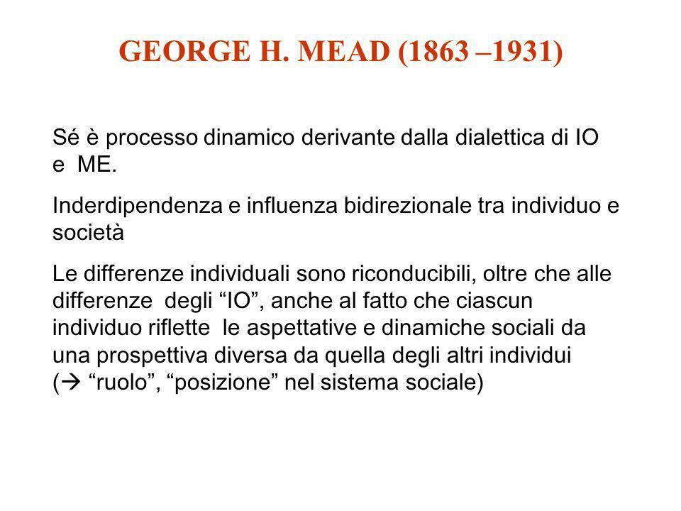 GEORGE H. MEAD (1863 –1931) Sé è processo dinamico derivante dalla dialettica di IO e ME. Inderdipendenza e influenza bidirezionale tra individuo e so