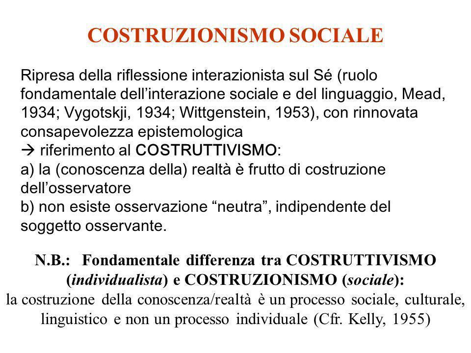 COSTRUZIONISMO SOCIALE Ripresa della riflessione interazionista sul Sé (ruolo fondamentale dellinterazione sociale e del linguaggio, Mead, 1934; Vygot