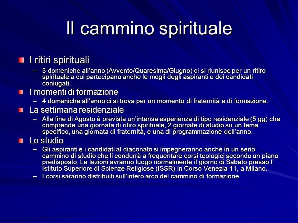 Il cammino spirituale I ritiri spirituali –3 domeniche allanno (Avvento/Quaresima/Giugno) ci si riunisce per un ritiro spirituale a cui partecipano an