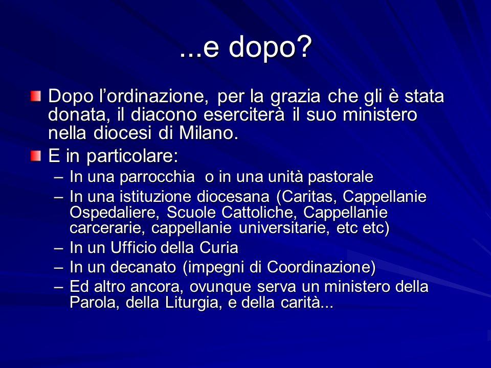 ...e dopo? Dopo lordinazione, per la grazia che gli è stata donata, il diacono eserciterà il suo ministero nella diocesi di Milano. E in particolare: