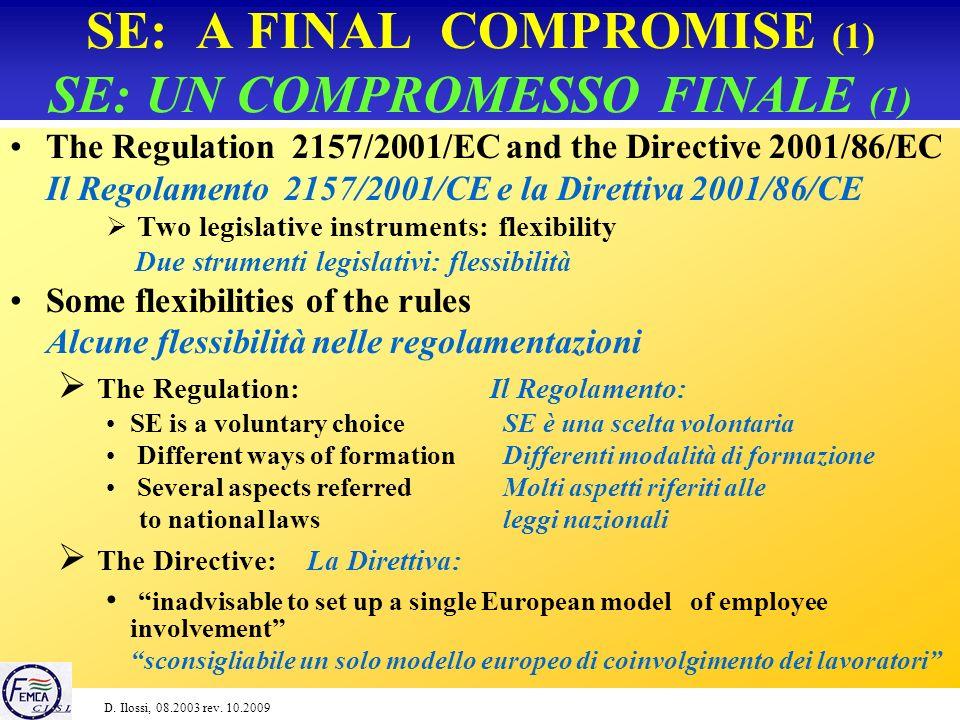 SE: THE DIRECTIVE (6) SE: LA DIRETTIVA (6) Main contents of the agreement Principali contenuti dellaccordo Estabilishment of the Representative Body for information and consultation, its composition etc.