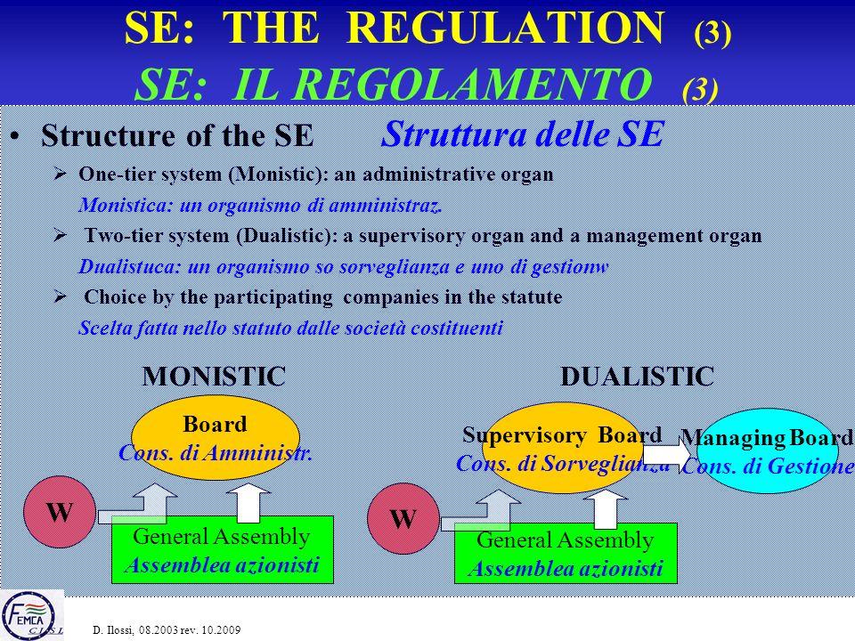 SE TODAY (2) LA SE OGGI (2) Number of registered SE Numero di SE registrate Fonte: SEEurope, 2009