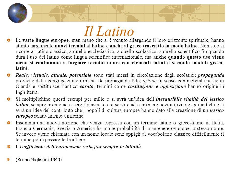 Il Latino Le varie lingue europee, man mano che si è venuto allargando il loro orizzonte spirituale, hanno attinto largamente nuovi termini al latino