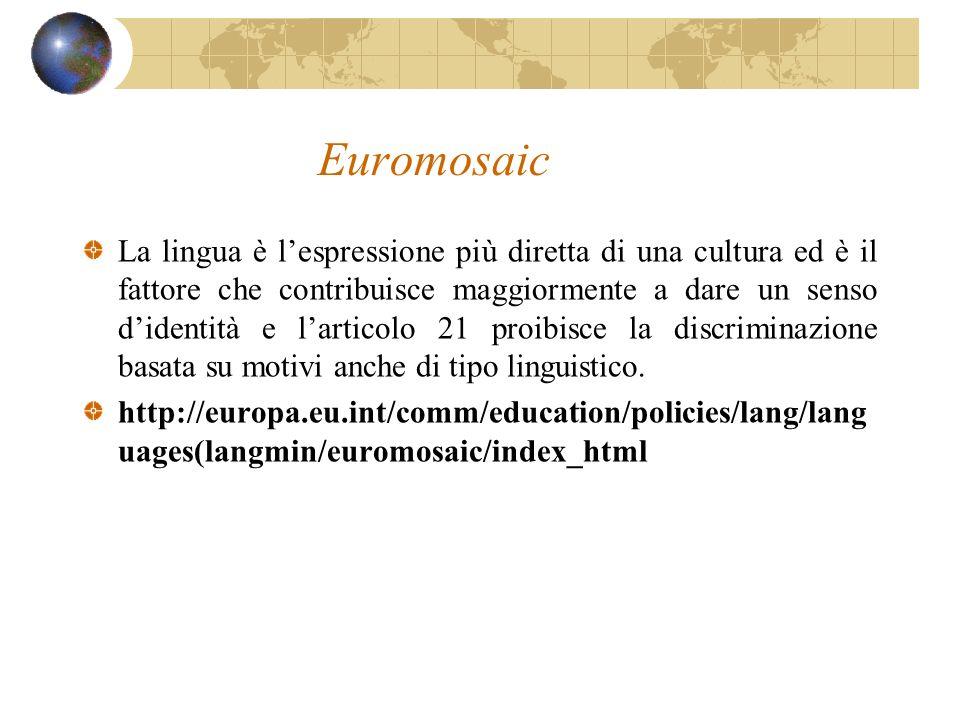 Euromosaic La lingua è lespressione più diretta di una cultura ed è il fattore che contribuisce maggiormente a dare un senso didentità e larticolo 21