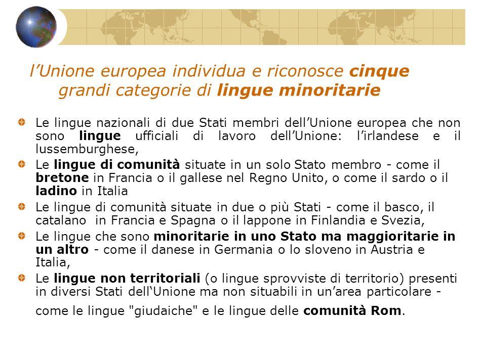 lUnione europea individua e riconosce cinque grandi categorie di lingue minoritarie Le lingue nazionali di due Stati membri dellUnione europea che non