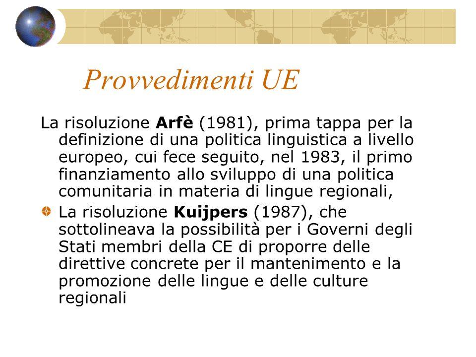 Provvedimenti UE La risoluzione Arfè (1981), prima tappa per la definizione di una politica linguistica a livello europeo, cui fece seguito, nel 1983,