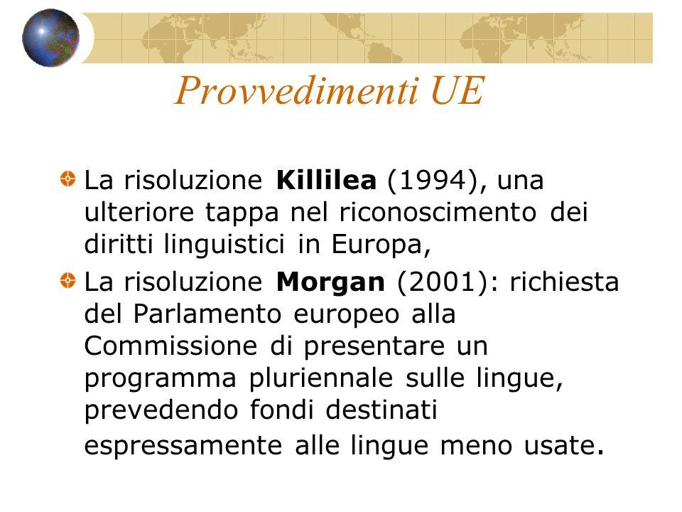 Provvedimenti UE La risoluzione Killilea (1994), una ulteriore tappa nel riconoscimento dei diritti linguistici in Europa, La risoluzione Morgan (2001