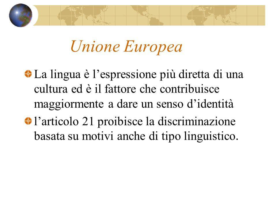 Unione Europea La lingua è lespressione più diretta di una cultura ed è il fattore che contribuisce maggiormente a dare un senso didentità larticolo 2