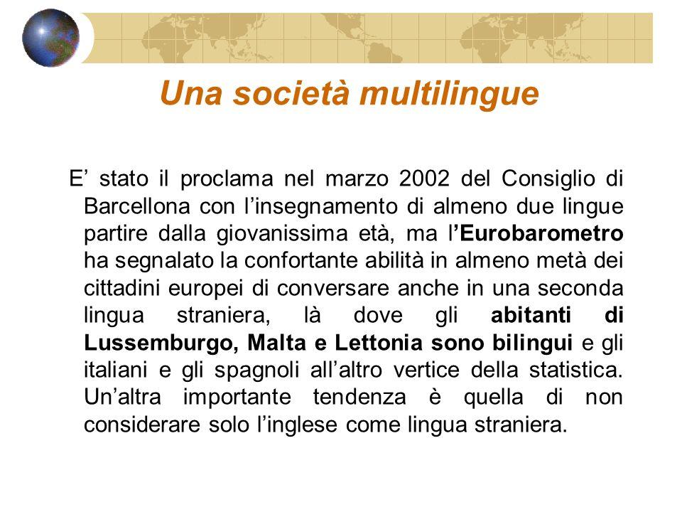 Una società multilingue E stato il proclama nel marzo 2002 del Consiglio di Barcellona con linsegnamento di almeno due lingue partire dalla giovanissi