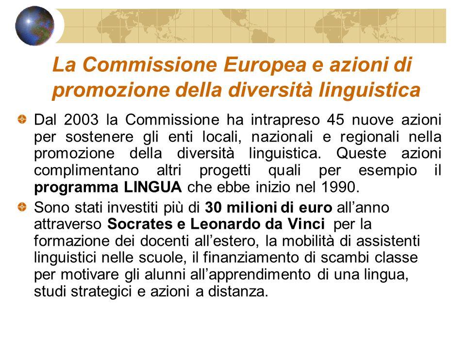 La Commissione Europea e azioni di promozione della diversità linguistica Dal 2003 la Commissione ha intrapreso 45 nuove azioni per sostenere gli enti