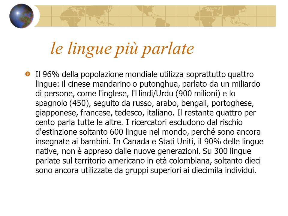 le lingue più parlate Il 96% della popolazione mondiale utilizza soprattutto quattro lingue: il cinese mandarino o putonghua, parlato da un miliardo d