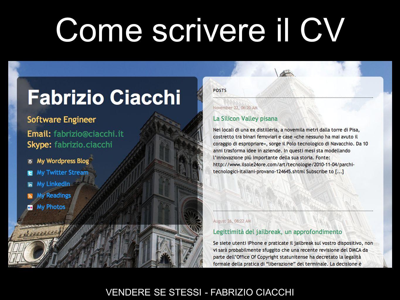 Come scrivere il CV VENDERE SE STESSI - FABRIZIO CIACCHI