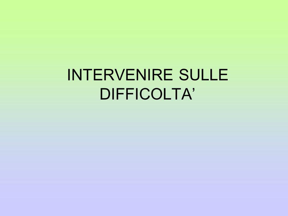 INTERVENIRE SULLE DIFFICOLTA