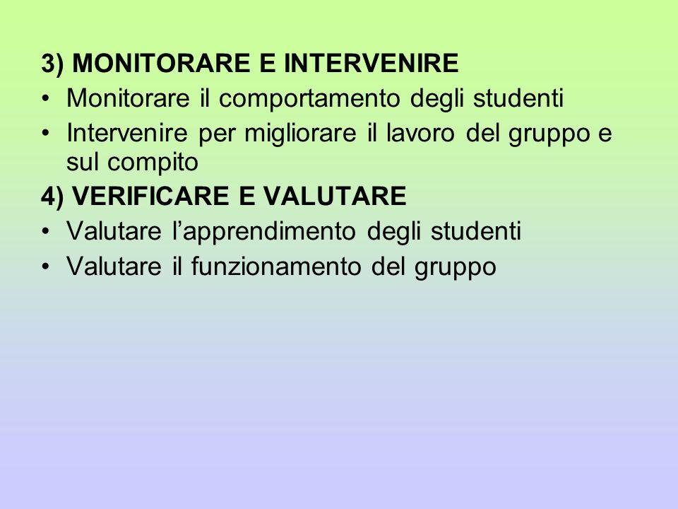 3) MONITORARE E INTERVENIRE Monitorare il comportamento degli studenti Intervenire per migliorare il lavoro del gruppo e sul compito 4) VERIFICARE E V