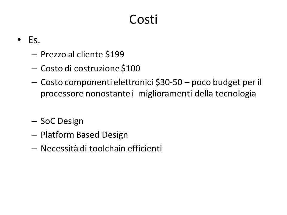 Costi Es. – Prezzo al cliente $199 – Costo di costruzione $100 – Costo componenti elettronici $30-50 – poco budget per il processore nonostante i migl