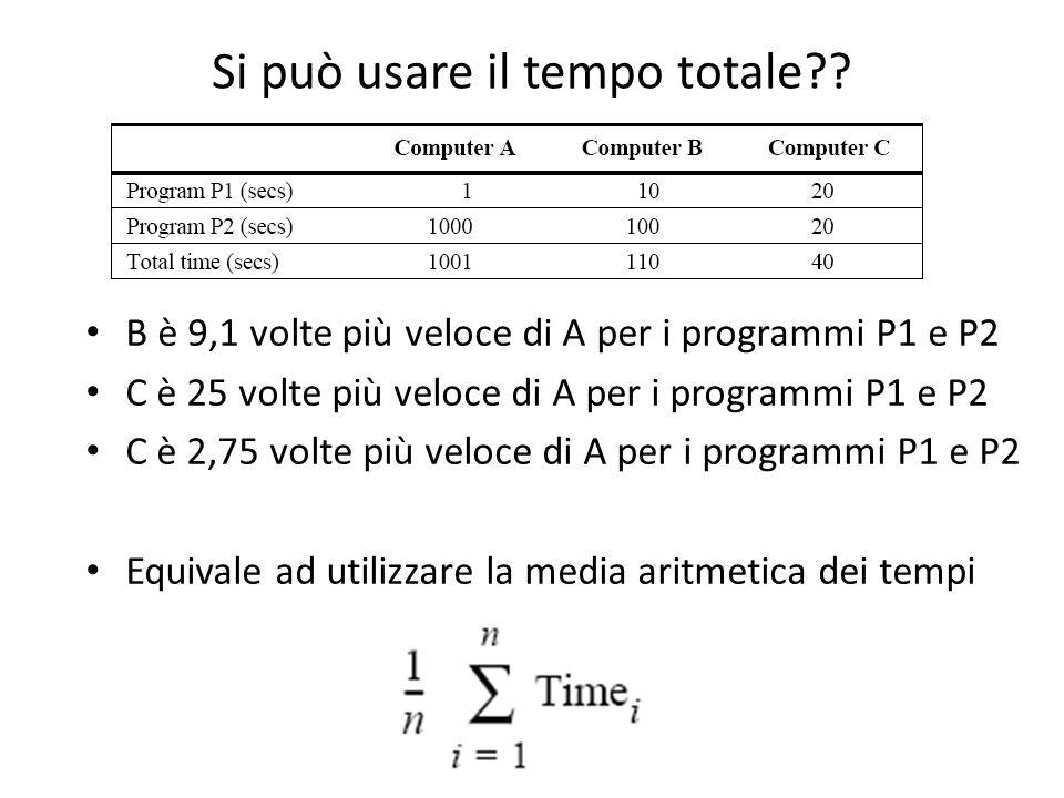 Si può usare il tempo totale?? B è 9,1 volte più veloce di A per i programmi P1 e P2 C è 25 volte più veloce di A per i programmi P1 e P2 C è 2,75 vol