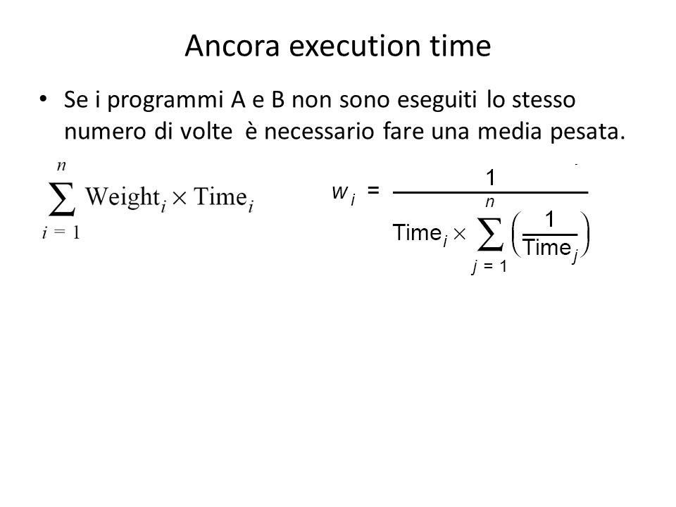 Ancora execution time Se i programmi A e B non sono eseguiti lo stesso numero di volte è necessario fare una media pesata.