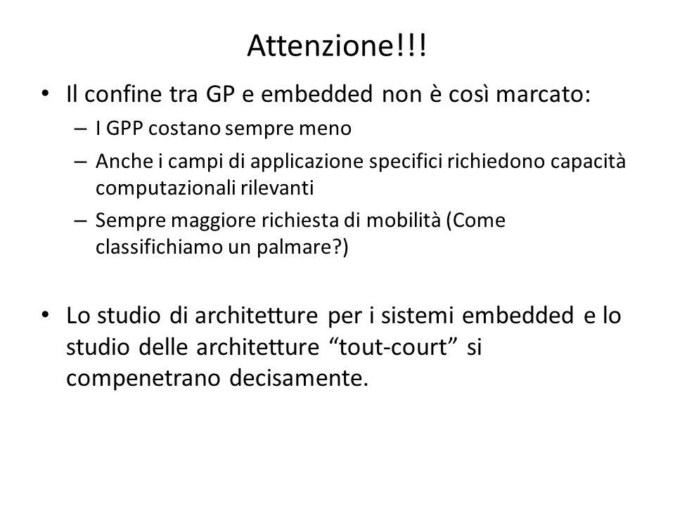Attenzione!!! Il confine tra GP e embedded non è così marcato: – I GPP costano sempre meno – Anche i campi di applicazione specifici richiedono capaci