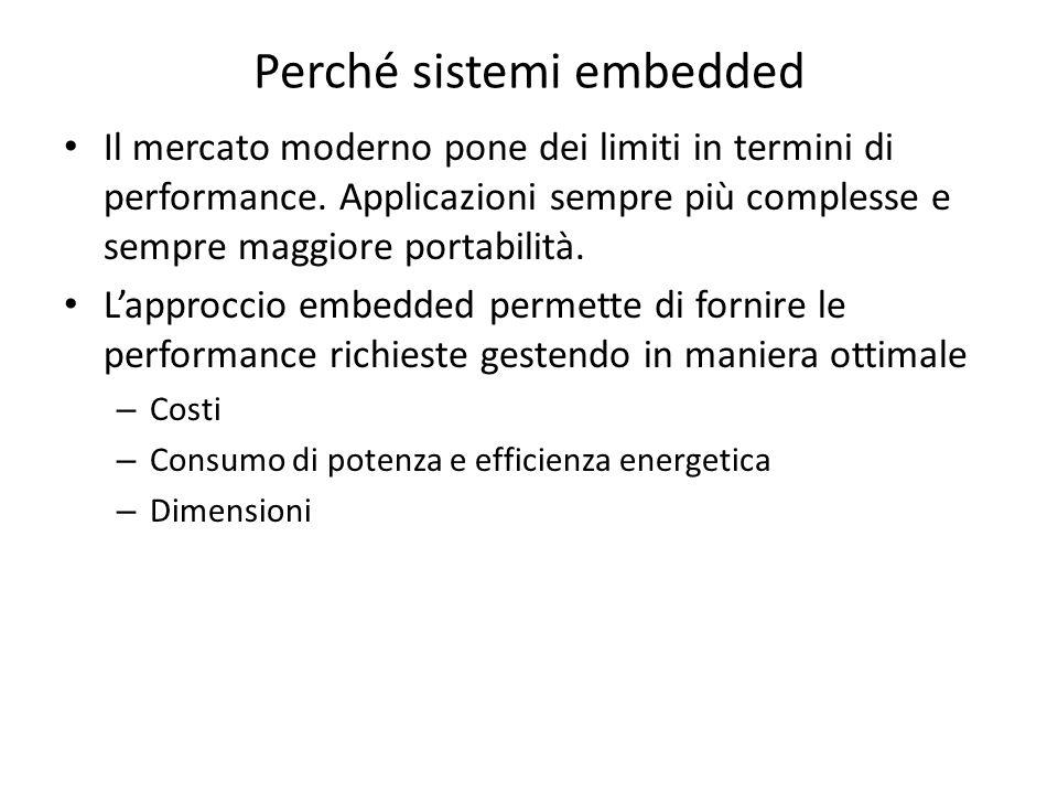 Perché sistemi embedded Il mercato moderno pone dei limiti in termini di performance. Applicazioni sempre più complesse e sempre maggiore portabilità.