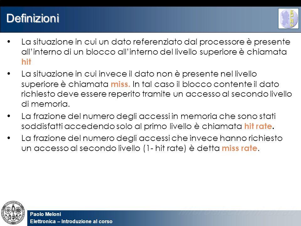 Paolo Meloni Elettronica – Introduzione al corso Definizioni La situazione in cui un dato referenziato dal processore è presente allinterno di un bloc