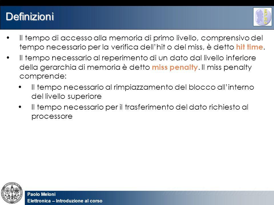 Paolo Meloni Elettronica – Introduzione al corso Definizioni Il tempo di accesso alla memoria di primo livello, comprensivo del tempo necessario per l
