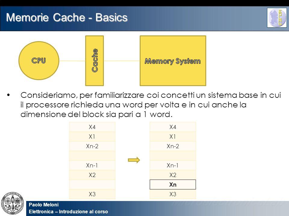 Paolo Meloni Elettronica – Introduzione al corso Memorie Cache - Basics Consideriamo, per familiarizzare coi concetti un sistema base in cui il proces
