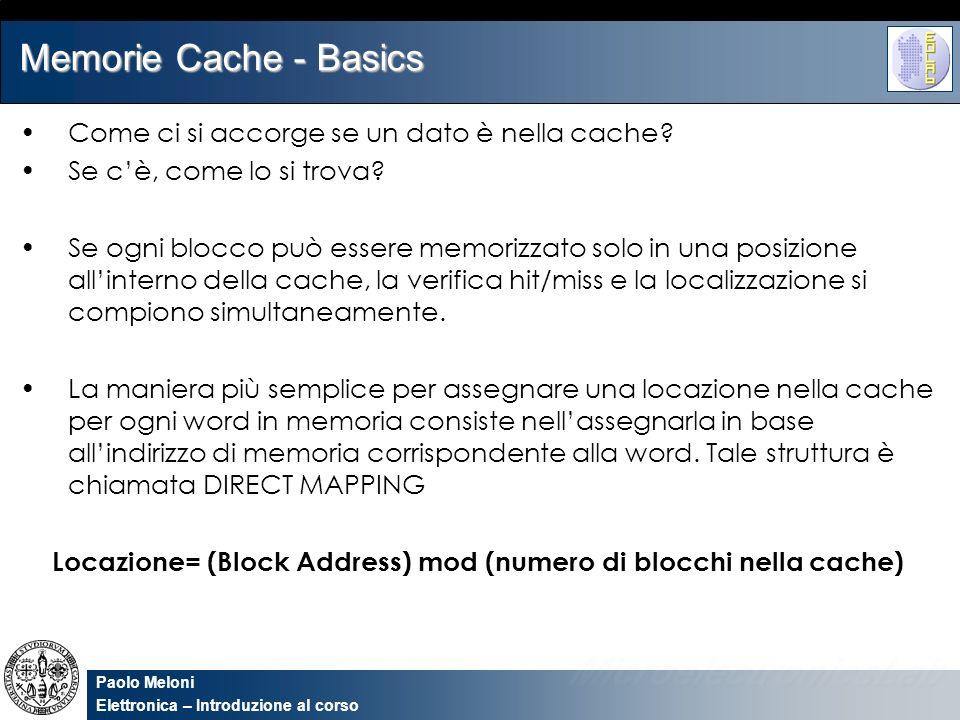 Paolo Meloni Elettronica – Introduzione al corso Memorie Cache - Basics Come ci si accorge se un dato è nella cache? Se cè, come lo si trova? Se ogni