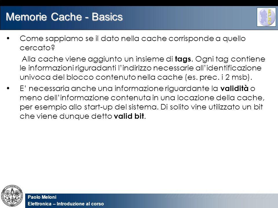 Paolo Meloni Elettronica – Introduzione al corso Memorie Cache - Basics Come sappiamo se il dato nella cache corrisponde a quello cercato? Alla cache