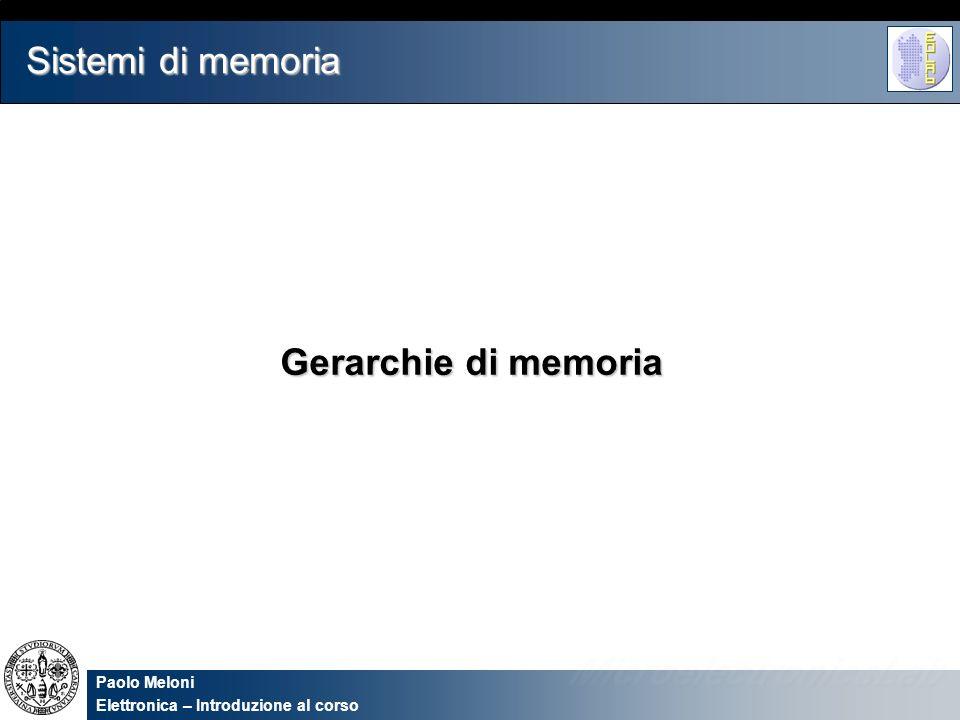Paolo Meloni Elettronica – Introduzione al corso Sistemi di memoria Gerarchie di memoria