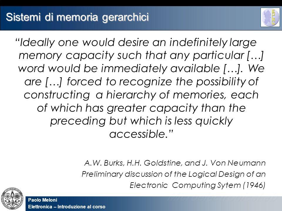 Paolo Meloni Elettronica – Introduzione al corso Sistemi di memoria gerarchici Una delle prime necessità mostrate dagli utenti di calcolatori elettronici, è stata quella di una illimitata quantità di memoria velocemente accessibile.