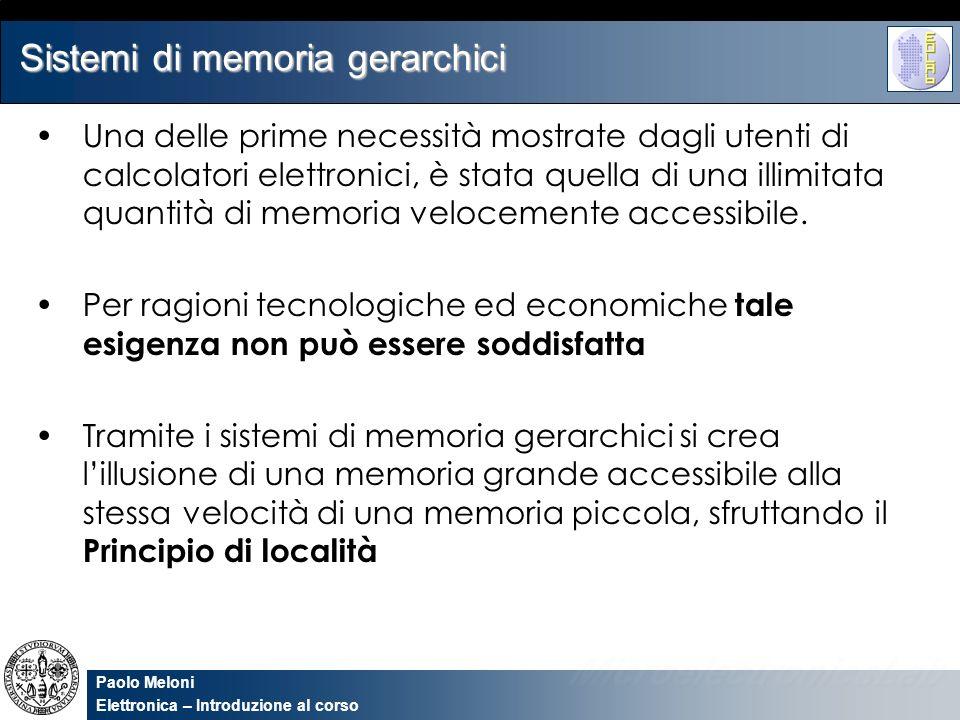 Paolo Meloni Elettronica – Introduzione al corso Sistemi di memoria gerarchici Una delle prime necessità mostrate dagli utenti di calcolatori elettron
