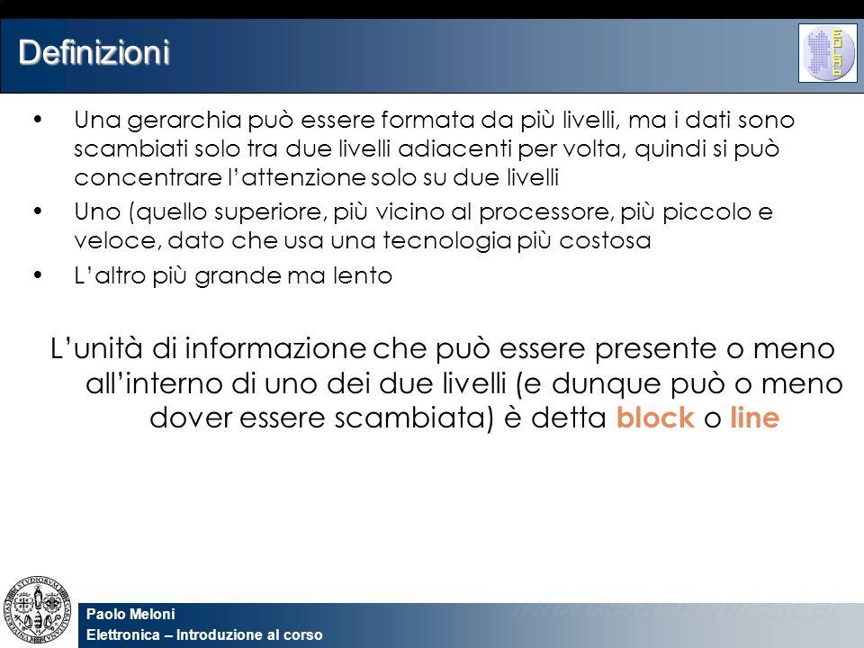 Paolo Meloni Elettronica – Introduzione al corso Accessing a cache 000N 001N 010S11Mem(11010) 011N 100N 101N 110S10Mem(10110) 111N 2210110hit110