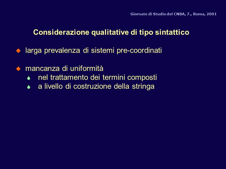 Considerazione qualitative di tipo sintattico u larga prevalenza di sistemi pre-coordinati u mancanza di uniformità S nel trattamento dei termini composti S a livello di costruzione della stringa