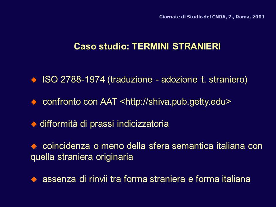Caso studio: TERMINI STRANIERI ISO 2788-1974 (traduzione - adozione t.
