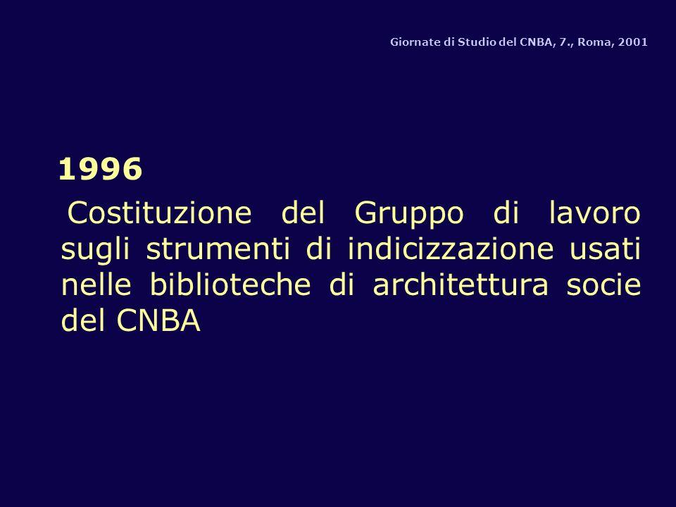 1996 Costituzione del Gruppo di lavoro sugli strumenti di indicizzazione usati nelle biblioteche di architettura socie del CNBA Giornate di Studio del CNBA, 7., Roma, 2001