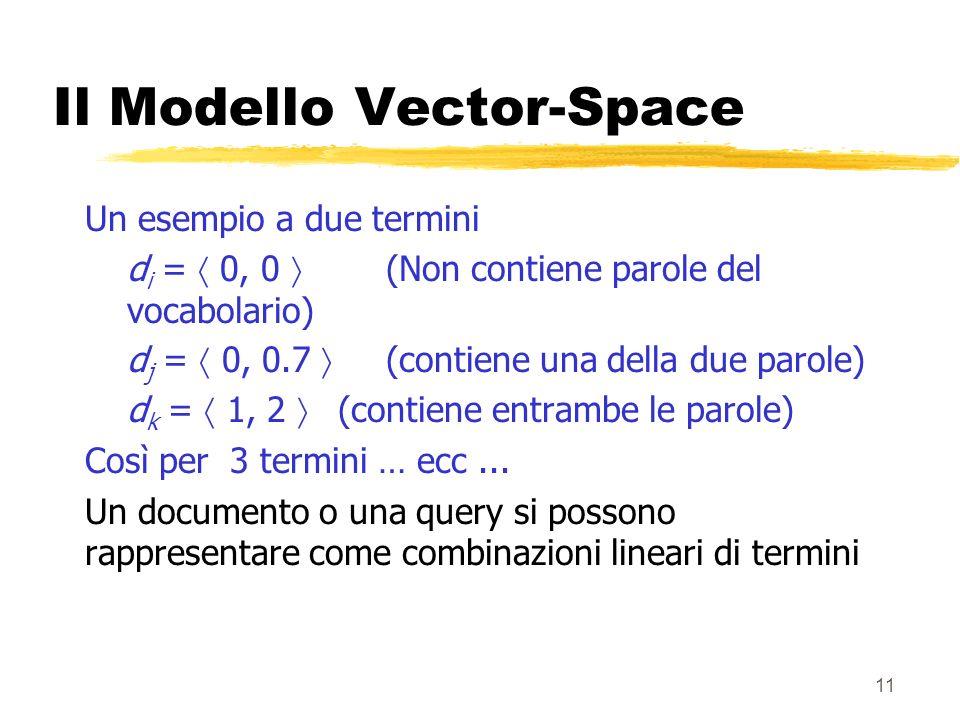 11 Il Modello Vector-Space Un esempio a due termini d i = 0, 0 (Non contiene parole del vocabolario) d j = 0, 0.7 (contiene una della due parole) d k