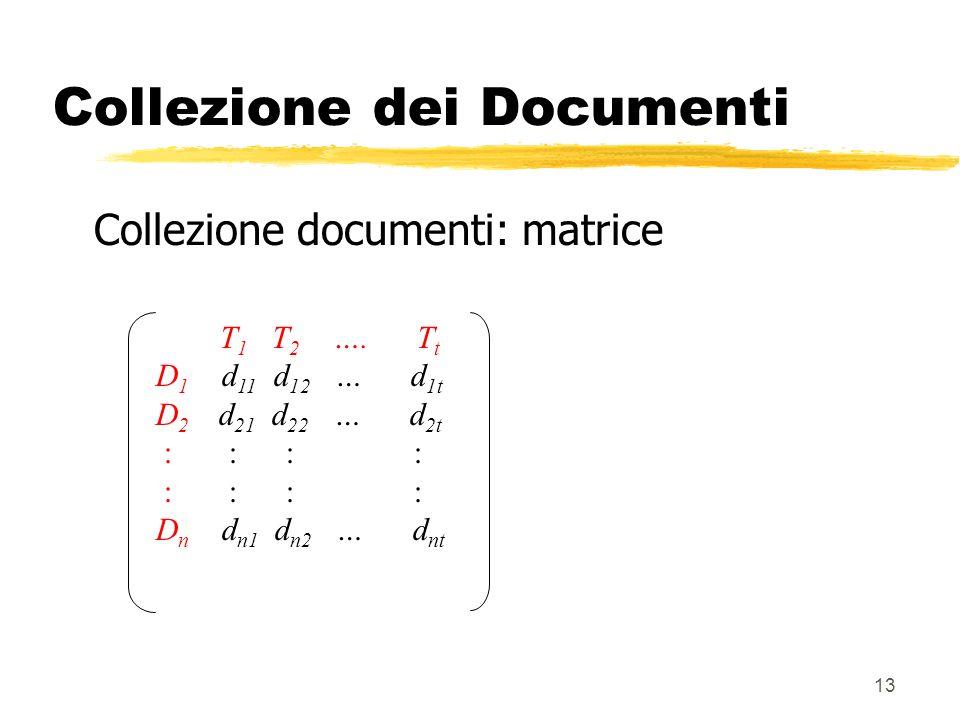 13 Collezione dei Documenti Collezione documenti: matrice T 1 T 2 …. T t D 1 d 11 d 12 … d 1t D 2 d 21 d 22 … d 2t : : : : D n d n1 d n2 … d nt